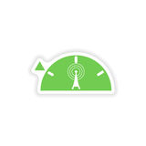 paper sticker on white background Wi fi tower Stock Photo