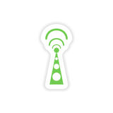 paper sticker on white background Wi fi tower Royalty Free Stock Photo