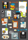 Paper stickers elements. Vector flat collection of stickers, labels, buttons, cards. Infograhics Stock Image