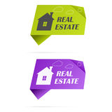 Paper stickers with home and clouds Royalty Free Stock Photos