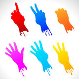 Paper stickers of painted hands. Paper colored stickers of raised hands. Vector illustration Stock Illustration