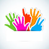Paper stickers of raised hands. Paper colored stickers of raised hands. Vector illustration Stock Illustration