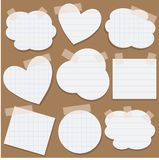 Paper stickers with scotch tape Royalty Free Stock Images