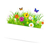 Paper Sticky With Grass And Flowers Stock Photography