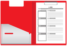 Paper for the storyboard of the film. Plastic folder with sheets of paper for the storyboard of the film based on the script. Vector illustration Stock Image