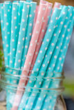 Paper straws for birthday party on natural background royalty free stock photo