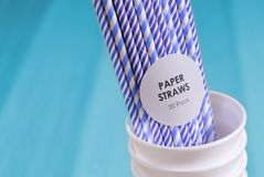 Paper straws environment friendly biodegradable landfill drink cup renewable resource pollution. Uk stock photography