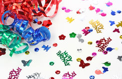 Paper streamer and confetti Stock Photos
