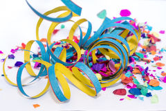 Paper streamer. With a lot of confetti Stock Photo