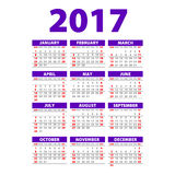 Paper Style 2017 Full Calendar Template - Promotion Poster Vector Design, Week Starts Sunday violet. Art Stock Images
