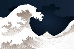 Paper style great wave Royalty Free Stock Image