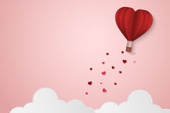 Paper Style love of valentine day , balloon flying over cloud with heart float on the sky, couple honeymoon , vector illustration  Stock Images