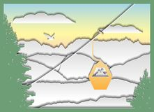 Paper style mountain landscape with a couple on a cable car royalty free illustration