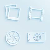 Paper style photography vector icons Royalty Free Stock Photo