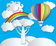 Paper style vector - landscape with rainbow and balloon Royalty Free Stock Photo