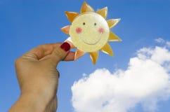 Paper Sun, The Sun in the Sky. Sun in the sky during the summer Stock Photo