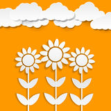 Paper sunflowers Royalty Free Stock Images