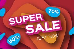 Paper Super Sale. Discount Poster in paper cut style. Special Offer Banner. Vector Stock Photography