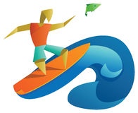 Paper surfer and jumping fish Royalty Free Stock Images