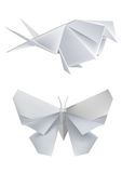 Paper_swallow_butterfly. Llustration of folded paper models, swallow and butterfly. Vector illustration Stock Photography