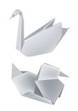 Paper_swan_duck. Illustration of folded paper models, swan and duck. Vector illustration Royalty Free Stock Photo