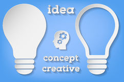 Paper symbol of bulb in two versions - idea concept Stock Image