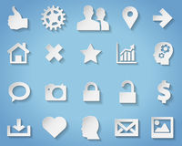 Paper symbols and icons with transparent shadow Royalty Free Stock Photo