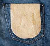 Paper tag on blue denim jeans pocket Stock Photos