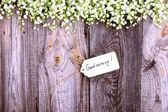 Paper tag on a rope with an inscription good morning Royalty Free Stock Photography