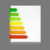 Paper tags as for energy consumption levels. 7 Colorful paper stripes of various lengths folded around a white sheet from dark green to red as e.g. in energy Royalty Free Stock Images
