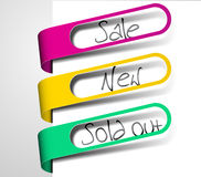 Paper tags for items in sale, sold out and new Royalty Free Stock Image