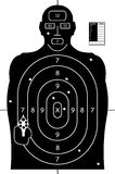 Paper Target. Black and White Gun Shooting Target Practice Paper with Bullet Holes and Score Royalty Free Stock Photo