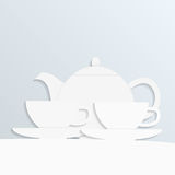 Paper tea. Picture of paper teapot and two cups, vector eps 10 illustration Royalty Free Stock Image