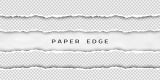 Paper tear border. Set of torn horizontal seamless paper stripes. Paper texture with damaged edge isolated on transparent