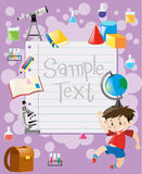 Paper template with boy and school equipments Stock Images