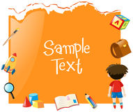 Paper template with boy and school items Stock Photography