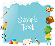 Paper template with boy and school items Stock Photo