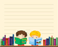 Paper template with boys reading books Stock Photos