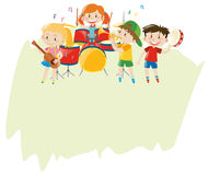 Paper template with children in the band Royalty Free Stock Image