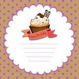 Paper template with cupcake for birthday Stock Photo