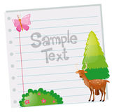 Paper template with deer and tree. Illustration Stock Photo
