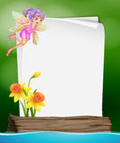 Paper template with fairy and flower Stock Images