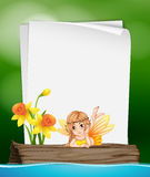 Paper template with fairy on log Royalty Free Stock Images