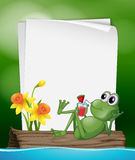 Paper template with frog drinking juice Stock Image