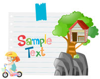Paper template with girl riding bike. Illustration Stock Images