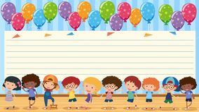 Paper template with happy kids Stock Photo