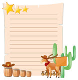 Paper template with horse in western town Royalty Free Stock Images