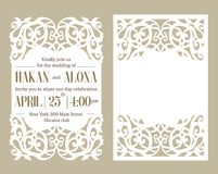 Paper template invitation  baby shower, wedding, birthday, baptism Greeting card women`s day. Set of laser cutting  design frame. White cut paper flower on Stock Photos