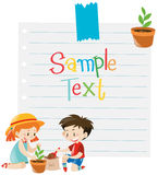 Paper template with kids planting tree Stock Photography