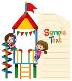 Paper template with kids at playhouse. Illustration Stock Photos